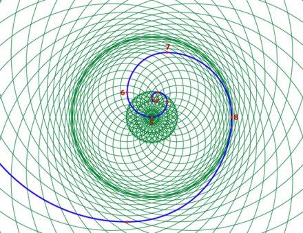 la doppia spirale phi centrata al Nodo 5 con il confine al Nodo 8
