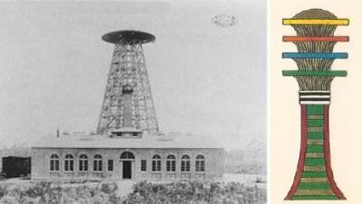 Confronto tra la Wardenclyff Tower di Tesla e lo Zed egiziano