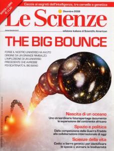 """Copertina di """"Le Scienze"""" del dicembre 2008, numero dedicato all'ipotesi del Big Bounce"""