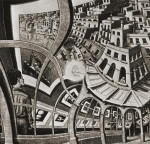 "Maurits C. Escher (1898-1972), ""La Galleria"", litografia, 1956"