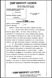 5-Documenti Governativi - Dichiarazione giurata a porte chiuse di Eugene F. Yeates: Citizens Against UFO Secrecy (il popolo contro il segreto sugli ufo) v (contro) National Security Agency (Agenzia per la Sicurezza Nazionale-NSA), 9 ottobre 1980