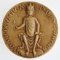 """Sigillo di Filippo II Augusto, Re di Francia, 1180. Legenda: Filippo Dei gratia Francorum rex """"."""